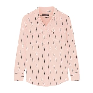 pale pink long sleeved shirt with black lightning bolt pattern, Kate Moss for Equipment
