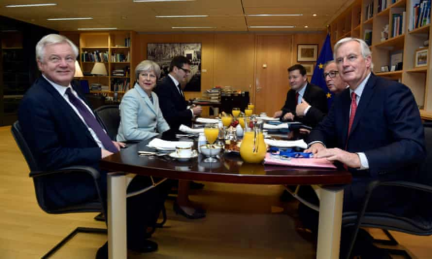 David Davis, Theresa May, Jean-Claude Juncker and Michel Barnier meet at the European commission in Brussels.