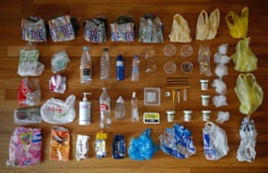One week's worth of plastic waste collected, in Athens, Greece.