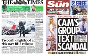 The Times and the Sun both decided not to feature the Hillsborough inquest verdict on their front pages on Wednesday 27 April.