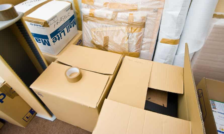 Packed Cardboard Boxes Ready For Moving HouseBT8WHR Packed Cardboard Boxes Ready For Moving House