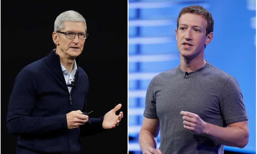 Apple CEO Tim Cook, left, and Facebook CEO Mark Zuckerberg.