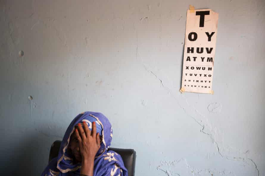 A woman in a Sightsavers eye care centre, May 2016, Nigeria.