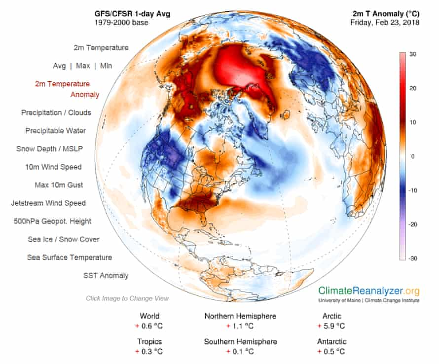 Surface temperature anomalies on 23 February 2018.