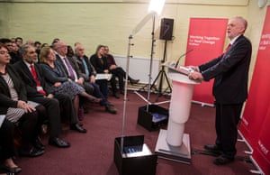 Jeremy Corbyn speaks to a group of Labour supporters