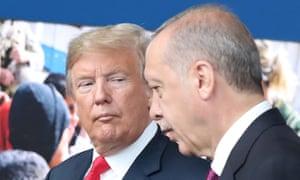 The US president, Donald Trump, with the Turkish president, Recep Tayyip Erdoğan