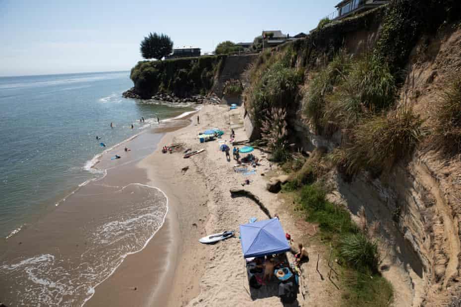 The beach in Santa Cruz. A woman was killed in Santa Cruz county when a cliff collapsed beneath her feet in 2017.