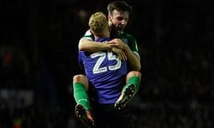 Sheffield Wednesday's Cameron Dawson and Morgan Fox celebrate their teammate Jacob Murphy's goal