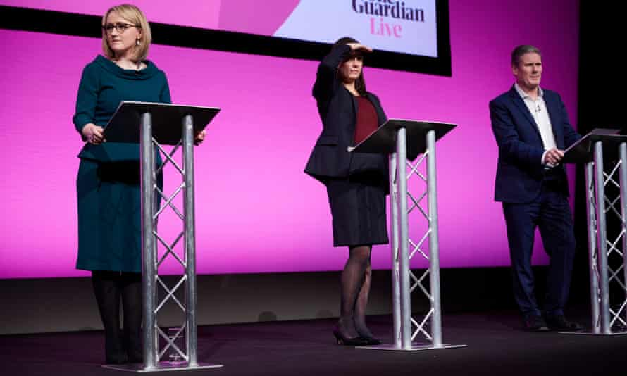 The three candidates onstage at the Labour leadership hustings in Manchester Central.