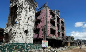 Part of a bullet-riddled mosque is seen in the city of Marawi, southern Philippines, in 2018 after the end of a bloody siege by Isis affiliate the Maute Group.
