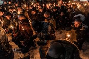Sofia, BulgariaUltra-Nationalists carry torches and knee on their knees in memory of General Hristo Lukov near the house he once lived. The Lukov March is an event held annually in Sofia since 2003, with the exception of 2020 when it was successfully banned, in honour of a pro-Nazi general and draws neo-Nazis from across Europe