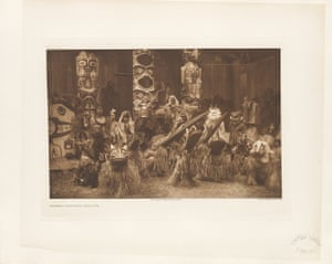 Masked dancers of the Qáĥgyuĥl. Part of the Kwakiutl tribe of the western coast of British Columbia in Canada