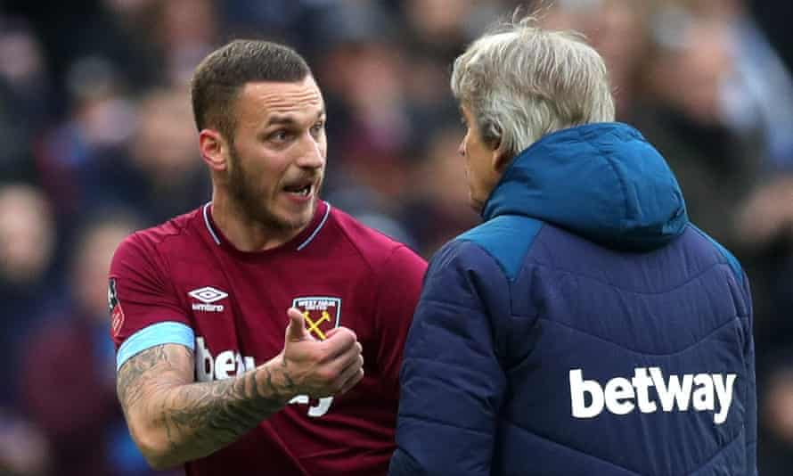 Marko Arnautovic argues with Manuel Pellegrini after being substituted in an FA Cup game with Birmingham in January 2o19
