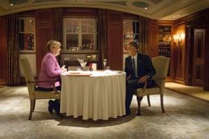 German Chancellor Angela Merkel and US President Barack Obama have dinner at the Hotel Adlon in Berlin.