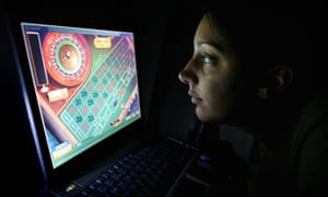 Woman playing online roulette