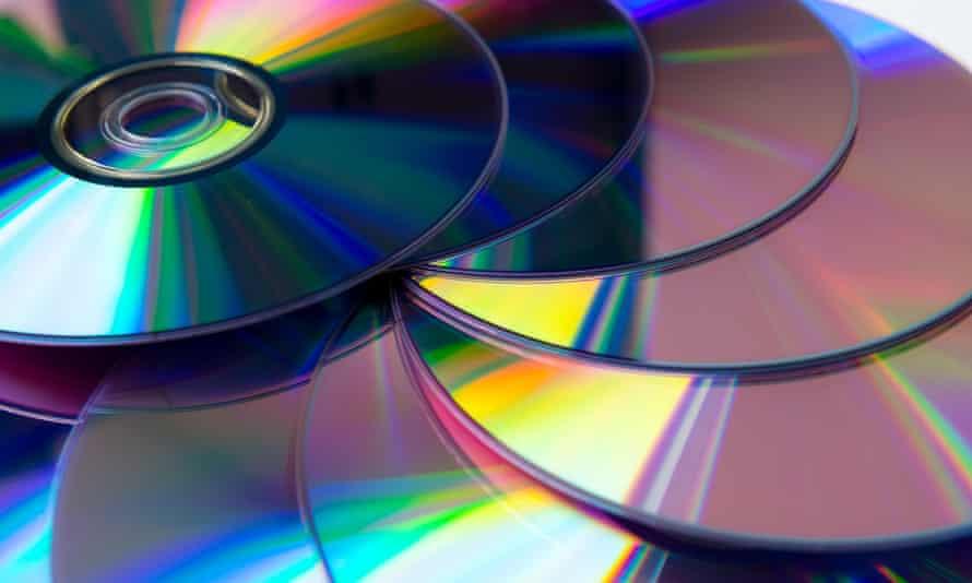 Stack of purple rewritable dvd