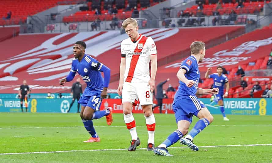 Southampton's James Ward-Prowse looks dejected after Leicester's Kelechi Iheanacho (left) celebrates scoring in the FA Cup semi-final earlier this month.