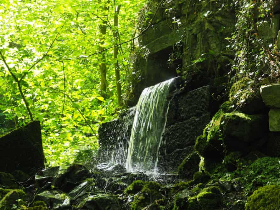 The beck tumbles through old mill workings in Ellar Ghyll