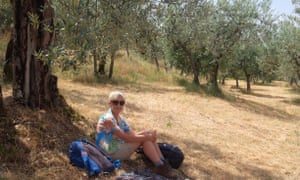 Liz picnicking in an olive grove