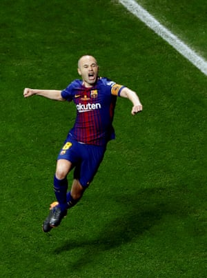 Andrés Iniesta celebrates after scoring for Barcelona in the Copa del Rey final.