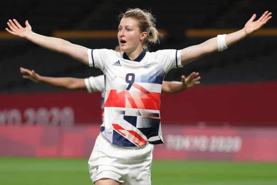Ellen White celebrates after scoring.