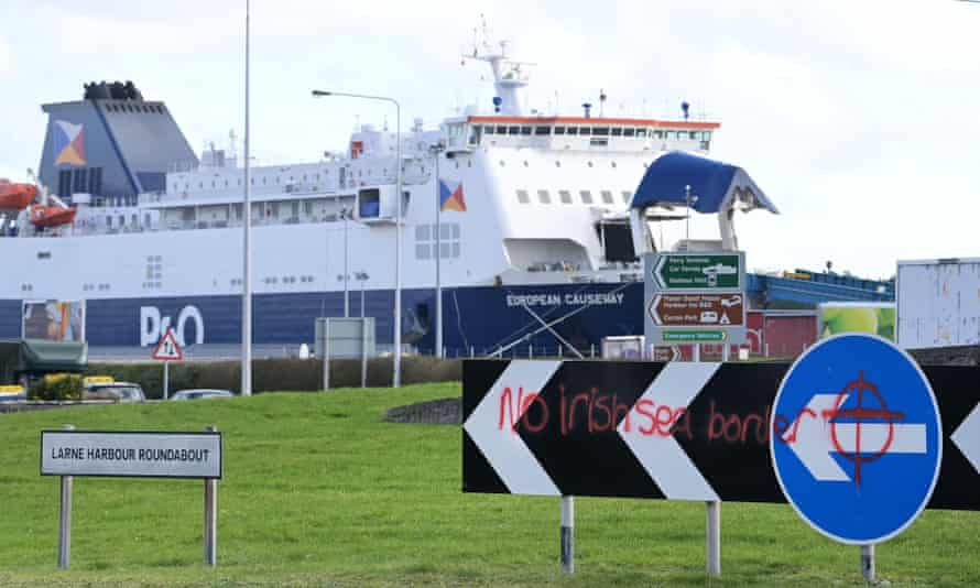 Loyalist graffiti can be seen opposite the entrance to Larne harbour on February 10, 2021 in Northern Ireland