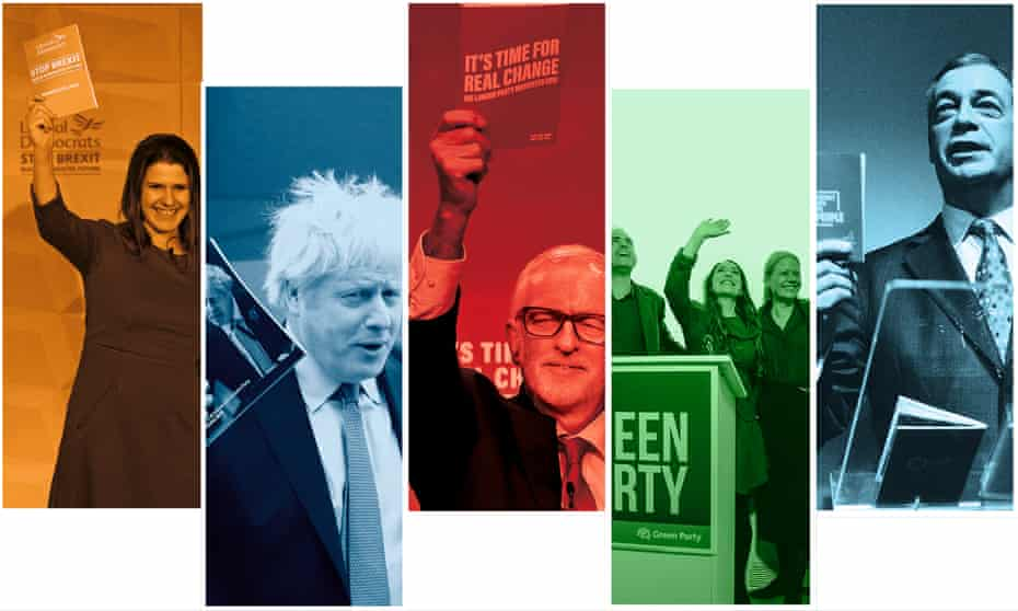 Slogans run … from left: Jeremy Corbyn, Boris Johnson, Jo Swinson, Jonathan Bartley, Amelia Womack, Siân Berry and Nigel Farage.