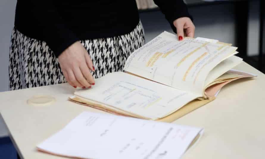 Secret police files on Ivana Trump at the Security Service Archive in Prague, Czech Republic.