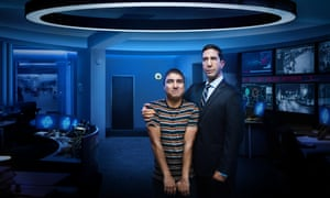 David Schwimmer (right) in his new comedy series Intelligence, with the show's co-star and creator Nick Mohammed.
