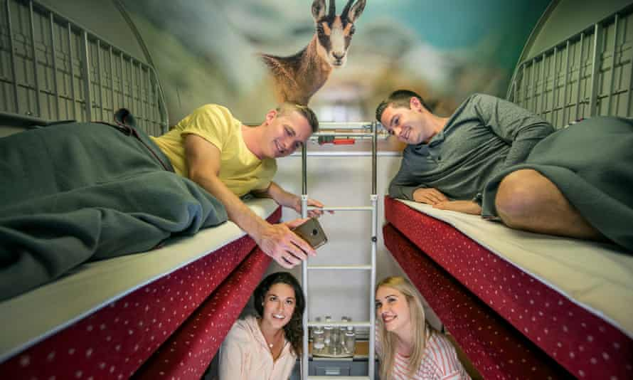 A compartment on Austria's Nightjet service.