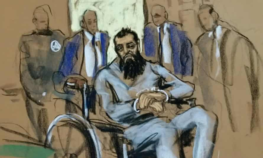 A sketch of Sayfullo Saipov in federal court in Manhattan.