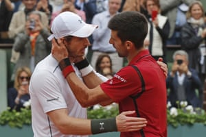 Novak Djokovic is congratulated by Andy Murray after the final