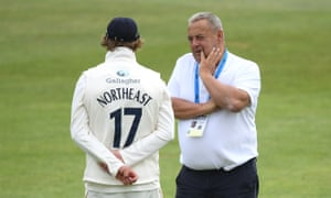 Hampshire captain Sam Northeast speaks to liaison officer Graham Cowdrey at Canterbury in September