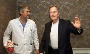 Former President George HW Bush with his cardiologist, Mark Hausknecht, in Houston. Hausknecht was shot dead by a fellow bicyclist while riding through a medical complex.
