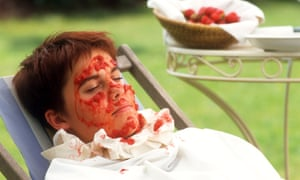 A strawberry face mask.