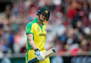 Smith, dejected after losing his wicket for 73.