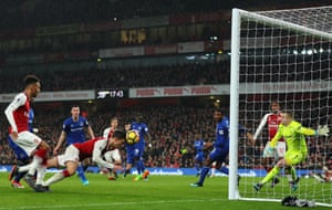 Laurent Koscielny of Arsenal scores his sides second goal, making it 2-0 during their 5-1 win over Everton at the Emirates.