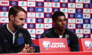 Gareth Southgate, left, has passed on some words of wisdom to Rashford.