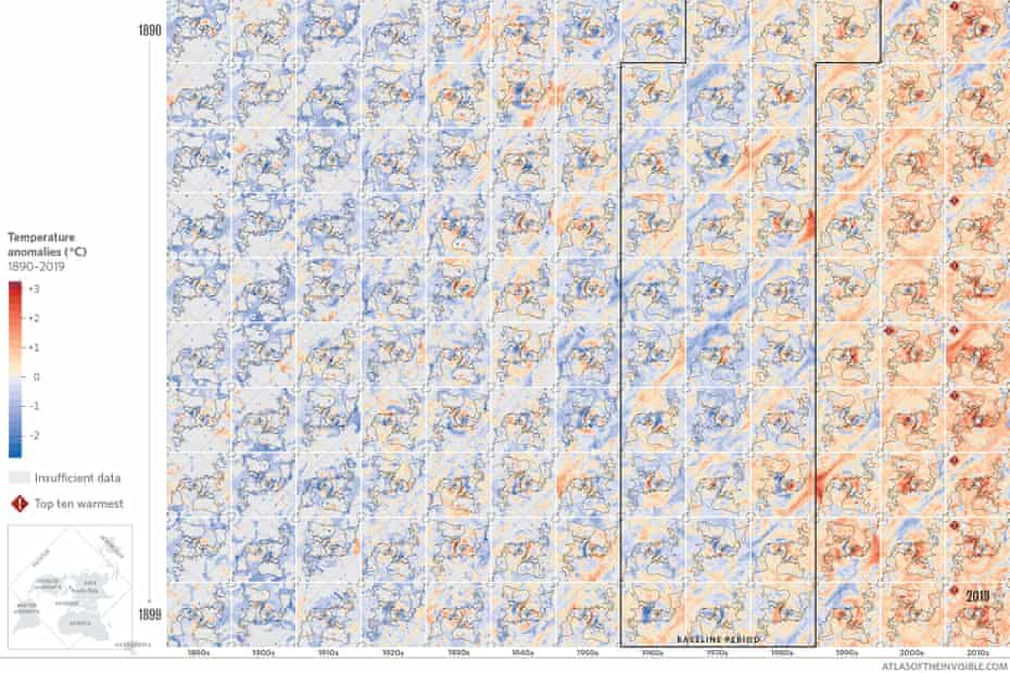 Heat gradients across time reveal warming