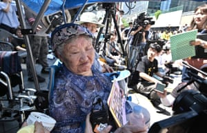 """Seoul, South Korea South Korean former """"comfort woman"""" Gil Won-ok, who was forced into sexual slavery for Japanese soldiers during World War II, attends a weekly anti-Japanese demonstration near the Japanese embassy in Seoul"""