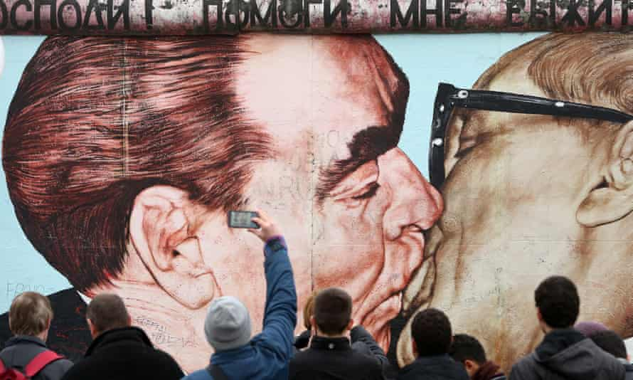 The famous painting of the kiss between Brezhnev and Honecker at the East Side Gallery.