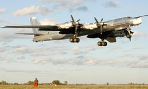 A Russian TU-95 'Bear' bomber, which have extended their training runs down the western coast of Norway and into the Irish and North Seas