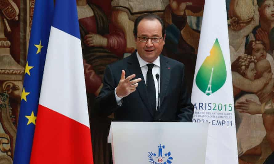 François Hollande at the ratification ceremony for the World Climate Change Conference 2015 at the Élysée Palace in Paris on 15 June
