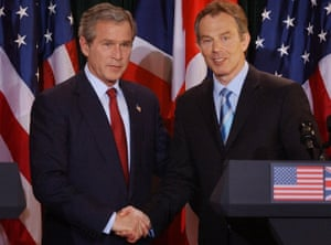 Shaking on regime change ... George W Bush and Tony Blair. Photograph: Stefan Rousseau/Pool
