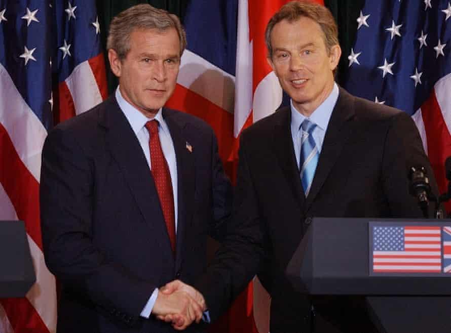 Shaking on regime change ... George W Bush and Tony Blair. Photograph: Stefan Rousseau/Pool