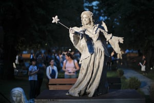 An artist from the Levend theatre in the Netherlands performs as her Angel character