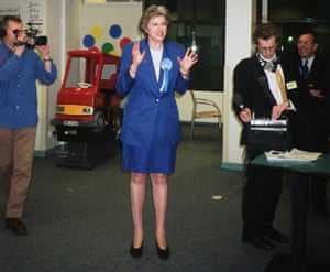 Theresa May at the general election count shortly after being elected as MP for Maidenhead in 1997