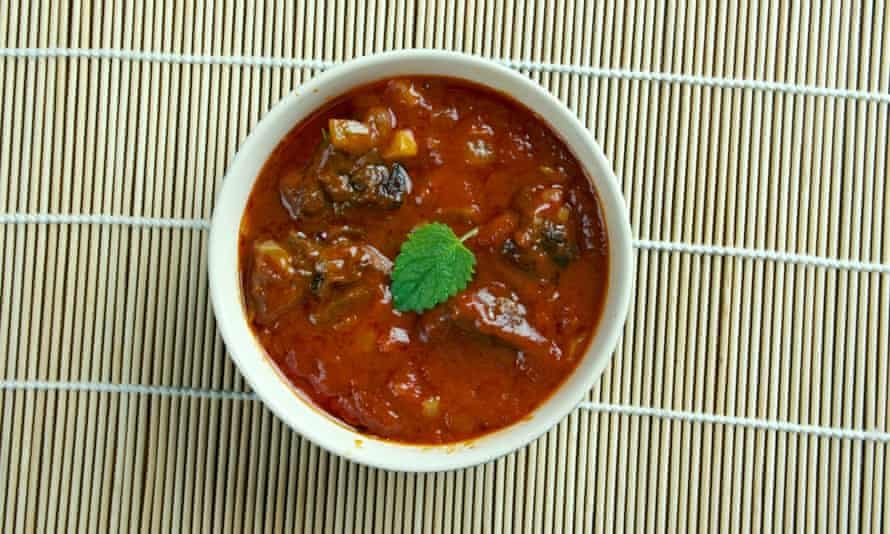 Laal maas - meat curry from Rajasthan, India. Mutton curry prepared in a sauce of curd and hot spices such as red chillies