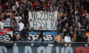 PSG fans tell Neymar to go away.