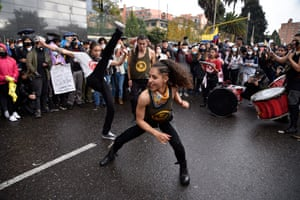 Protesters practise capoeira in Bogotá